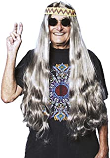 60's Long Hippie Wig with Headband