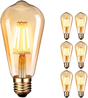 OnlineTek Bombilla LED Edison estilo vintage color ámbar 2700 K 4 W (equivalente a 40 W) filamento LED lámpara decor...