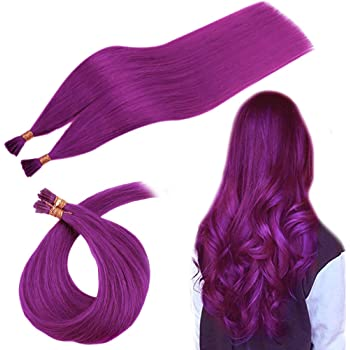 RUNATURE Remy Human Hair Pre Bonded Extensions Remy Hair 20 Inches 25g Per Set 1g Per Strand Stick Tip Hair Extensions Keratin Purple I Tip Hair Extensions Keratin Fusion Brazilian Human Hair