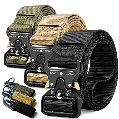 """RONGQI 3Pack Tactical Belt,Military Style Belt,1.5"""" Nylon Riggers Belts for Men,Heavy-Duty Quick-Release Metal Buckle"""