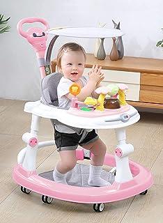 Baby Walker with Brake Folding Anti-O-Leg Baby Walker Anti-tip Walk Height Adjustable Baby Walker Max Load 20kg for Girls ...