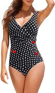 riou Bikini, Traje de Baño de una Sola Pieza de Lunares para Mujer Tallas Grandes Sexy Traje De Baño Cuello Halter Vintage Atractivo Conjunto Push up Bikini Playa Beachwear riou