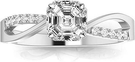 1 Carat 14K White Gold Elegant Intertwine Twisting Split Shank Asscher Cut Diamond Engagement Ring (0.91 Ct F Color SI1 Clarity Center Stone)