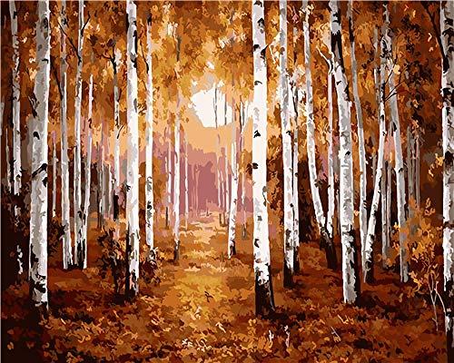 DIY Pintura por Números Bosque de tronco de árbol para Adultos Pintura de Bricolaje sobre Lienzo con Pinceles y Pinturas - 16 * 20 Pulgadas (Sin Marco)
