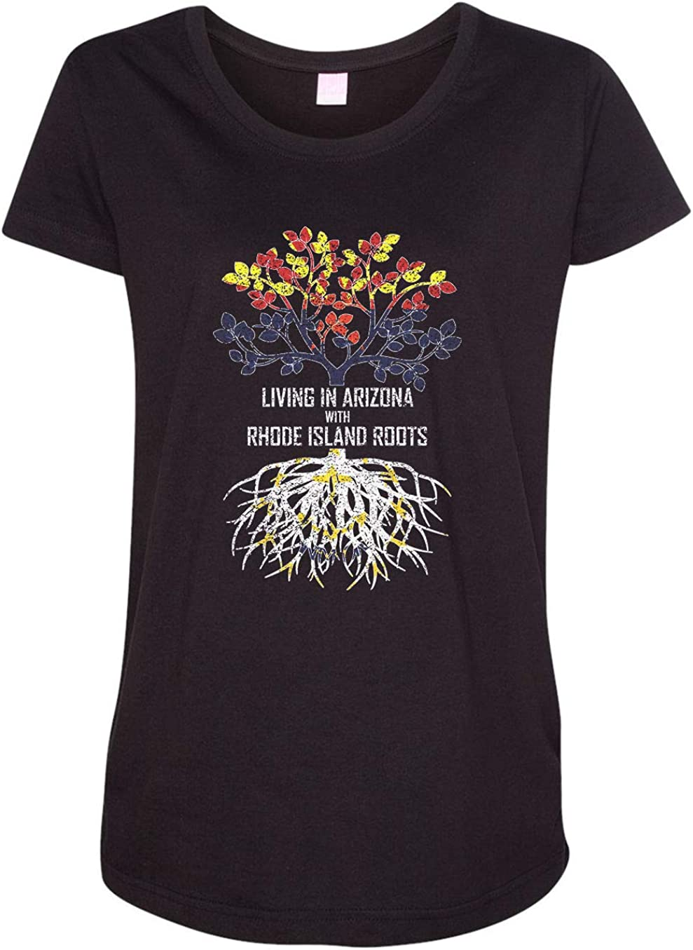 HARD EDGE DESIGN Women's Living in Arizona with Rhode Island Roots T-Shirt