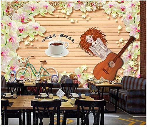 Papel Tapiz Fotográfico 3D Personalizado Sentimientos Románticos Mariposa Orquídea Flores Café Herramientas Pared De Fondo-250Cmx175Cm