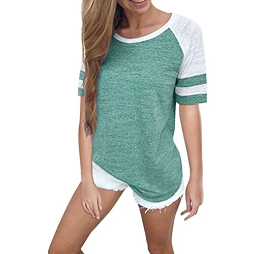 7228af91f2 Wanshop Womens T Shirt Blouse Tops Ladies Short Sleeve Raglan Striped  Baseball T Shirts Clothes Pullover