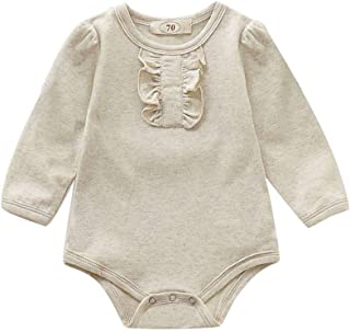 Weixinbuy Baby Boys Girls Romper Striped Solid Print Round Collar Long Sleeve One-Piece Bodysuit Sleepwear Clothes
