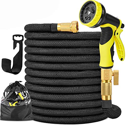 Garden Hose Expandable Garden Hose 100 ft Garden Hose with Triple Layer Latex Core, 3/4' Solid Brass Fittings, 3750 D Extra Strength Fabric 10 Function Spray Nozzle for All Your Watering Need