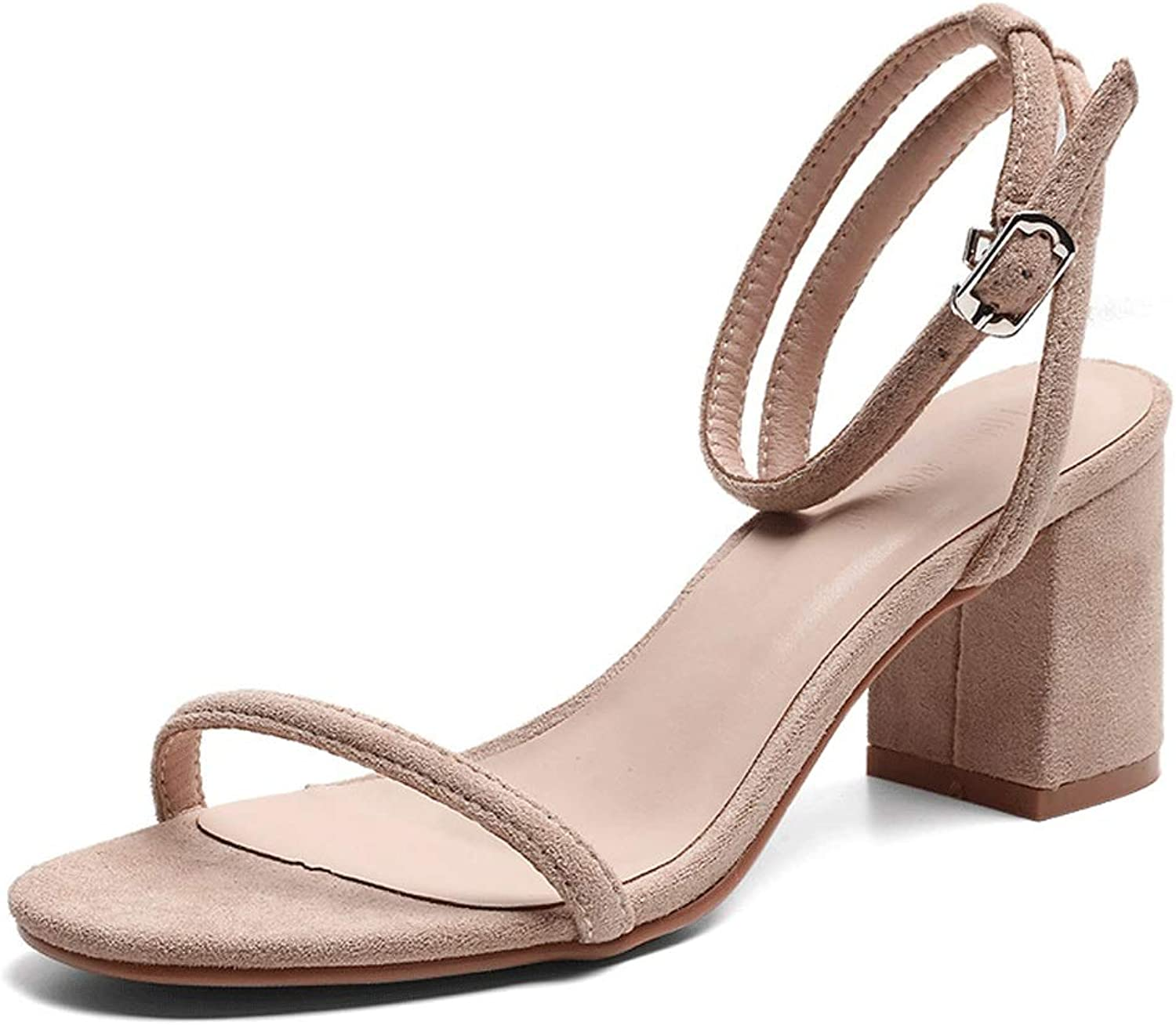 Summer Thick Heels High Heels Fashion Sandals Comfortable Women's shoes (color   A, Size   7.0 US)