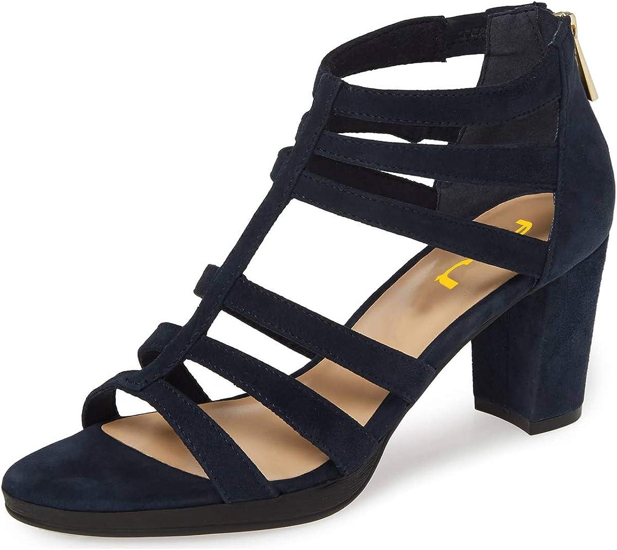 FSJ Women Chunky Mid High Heel Sandals Open Toe T-Strap Pumps Cutout Dress Party Office Shoes Elastic Back Zipper Size 4-15 US
