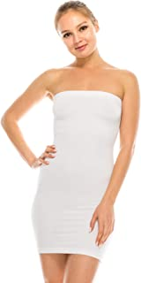 Women's Strapless Mini Dress - Sleeveless Bodycon Sexy Stretchy Tube Top Slip, UPF 50+ (Made in USA)