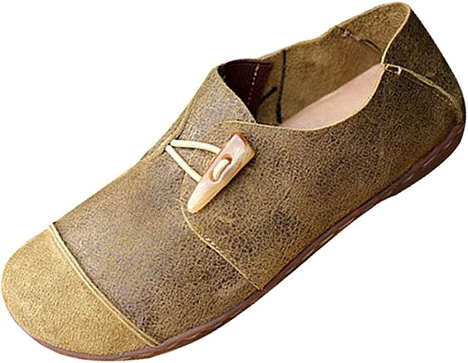 Yolee Women's Horn Button Leather Flats shoes