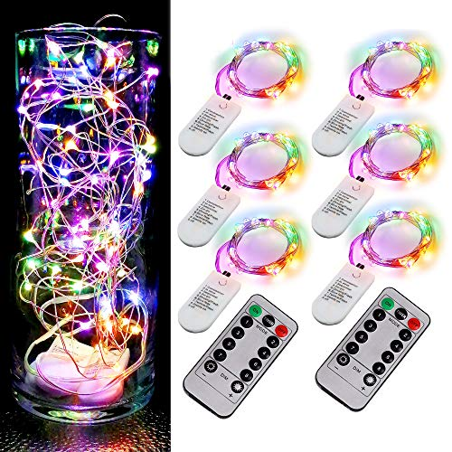 6PCS Fairy String Multicolor Changing Twinkle Lights with 2pcs Remote, 6.5ft 20 LEDs Silver Wire,CR2032 Battery Powered,Indoor Decorative Bedroom,Wedding,Patio,Christmas,Outdoor Garden,Stroller