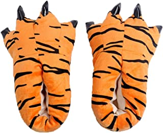 Gebaozhen New Style Stuffed Animal Claw Slippers,Fun Costume Play & Everyday Furry Animal Plush Paw for Kids & Adults Wear (S, Leopard Pattern)