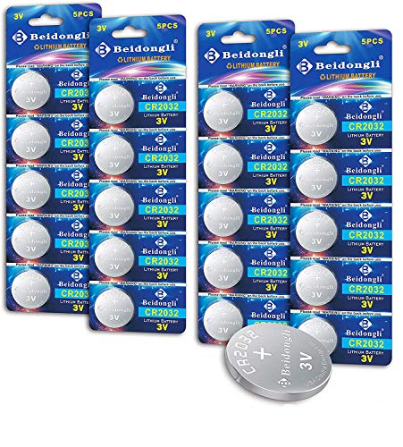 Beidongli CR2032 Battery 3V Lithium Battery Coin Button Cell 20 Count 【5-Year Warranty】
