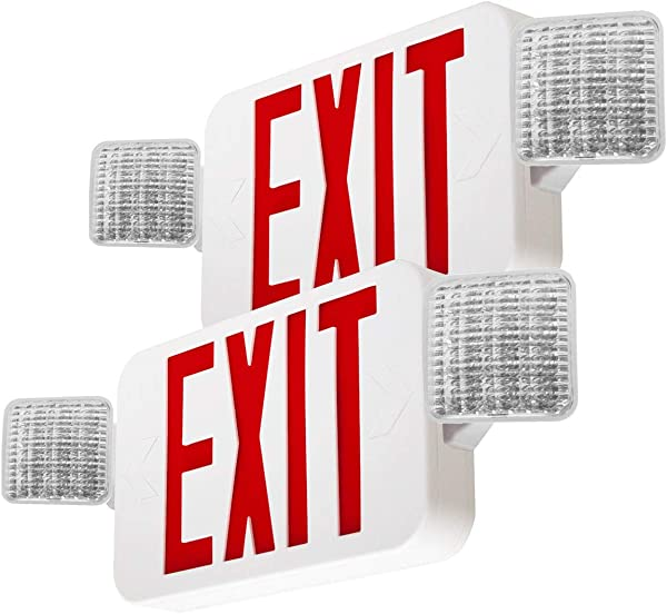 LFI Lights 2 Pack UL Certified Hardwired Red LED Combo Exit Sign Emergency Light COMBOR2x2