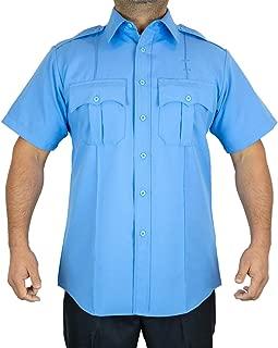 100% Polyester Short-Sleeve Men's Uniform Shirt Light Blue