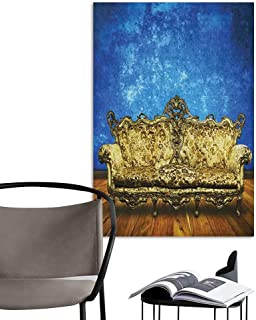 Jaydevn Wall Paintings self-Adhesive Victorian Victorian Sofa in Room Interior Wooden Floor Timber Panel Curve Aged Brown Gold Royal Blue Living Room Wallpaper W24 x H36