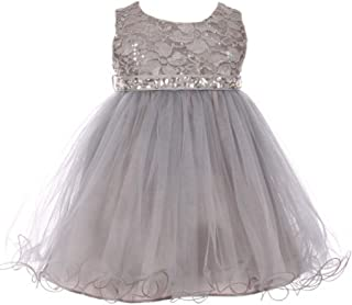 29091bfb516 BluNight Collection Sparkle Sequin Rhinestone Lace Tulle Infant Baby Flower Girls  Dresses