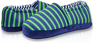 LA PLAGE Boy's Winter Indoor Outdoor Slippers Comfort Cute Soft Cotton House Shoes with Stripe Pattern