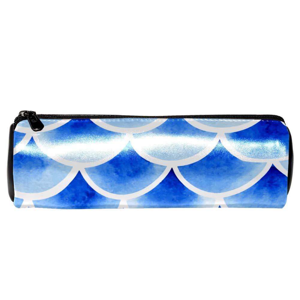 EZIOLY - Estuche de piel para lápices, diseño de balanza de pescado, color azul: Amazon.es: Oficina y papelería
