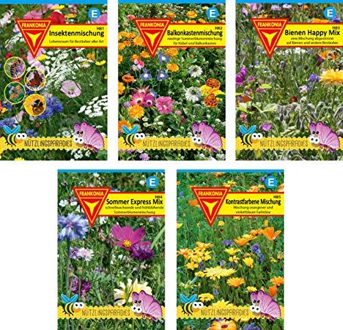 Frankonia-Samen/Nützlings-Paket / 5 verschiedene Blühmischungen/Optimal auf Insekten wie Bienen, Schmetterlinge und weitere Nützlinge abgestimmt