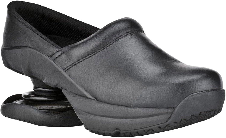 Z-CoiL Pain Relief Footwear Women's Toffler Slip Resistant Black Leather Clog Sandal