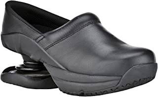 Z-CoiL Pain Relief Footwear Men's Toffler Slip Resistant Black Leather Clog Sandal