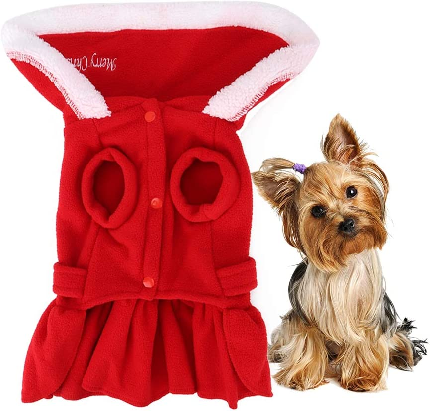 Bicaquu Dog Clothes OFFicial mail order Popular products Winter Xmas Cute for S Red Dress