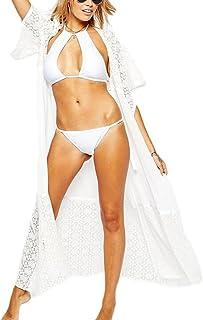 Mujeres Encaje Hueco Cardigan Túnica Larga Vestido De Playa Trajes De Baño Bikini Cubrir Cover UP