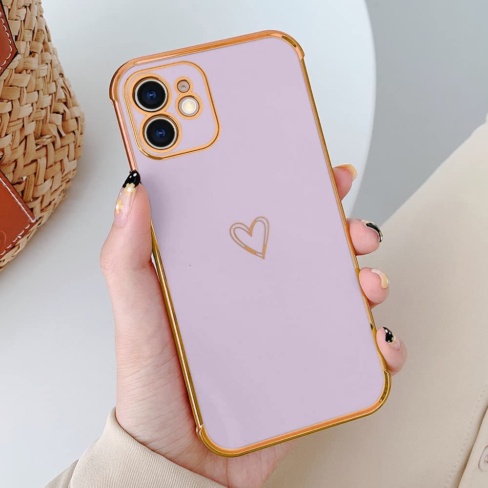 LLZ.COQUE Compatible with iPhone Xr Girls Women Cute Heart Shape Slim Hybrid Bumper Shockproof Anti-Scratch Drop Protection Soft TPU Back Case Cover - Purple