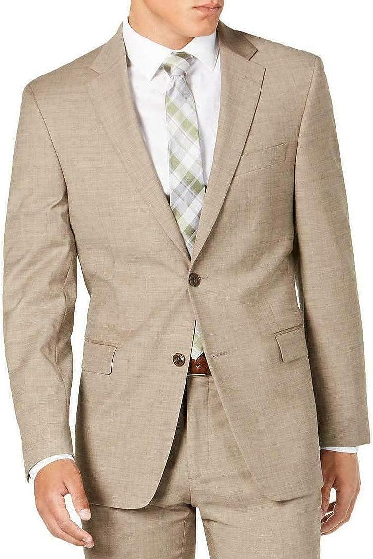 Tommy Hilfiger Mens Beige Single Breasted, Plaid Regular Fit Wool Blend Blazer 40L