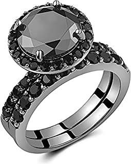 Black Round Solitaire Sterling Silver Wedding Ring Set for Women