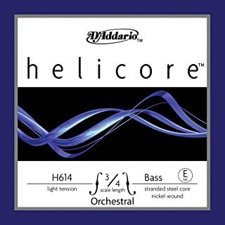D'Addario Helicore Orchestral Bass Single E String, 3/4 Scale, Light Tension