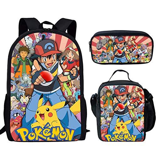 UFDIS Mochila escolar 3 en 1 Pikachu Anime Print mochila ajustable para niños y niñas, bolsa de regreso a la escuela, Pikachu-3 (Azul) - UF-CDWX11CGK