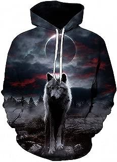 Night Space Galaxy Sweatshirt Men/Tracksuits Print Galaxy Wolf Hooded Hoodies