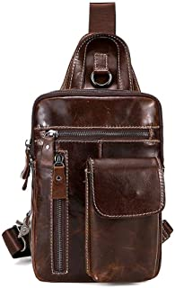 Lcxliga Genuine Leather Men Chest Bag Leisure Crossbody Bag Vertical Section Shoulder Bag Multipurpose Triangle Pack Rucksack (Color : Brown)