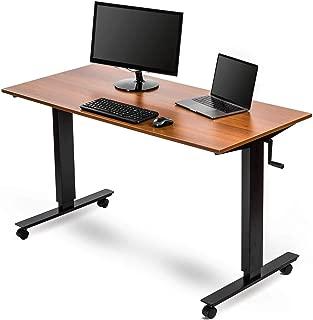 Crank Adjustable Height Standing Desk (56 Inches Wide, Black Frame/Teak Top)