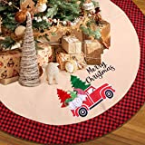 Christmas Tree Skirt, 48 Inch Xmas Merry Christmas Decorations Burlap Red Buffalo Plaid Tree Collar Ornament with Embroidered Santa Claus Car Tree Pattern for Christmas Home Indoor Decoration