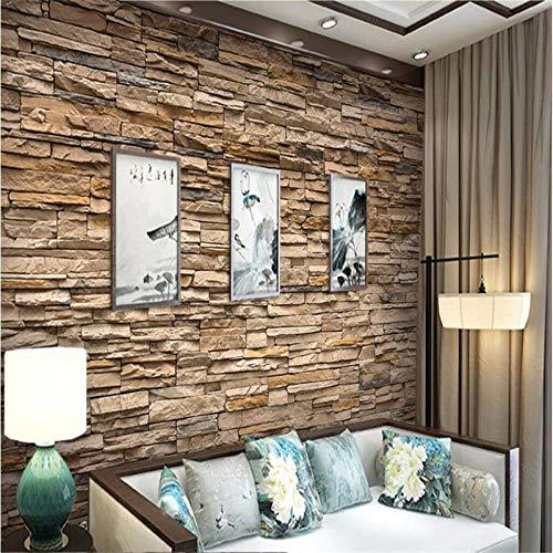 LZHui Tapete 3D Slate Stone Brick Effect Wallpaper für Wohnzimmer TV Hintergrund HD Steinmauerwerk Fassaden Hotel badroom Tapete für Wände