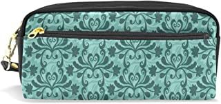 Pencil Case Free Vector Teal Western Flourish Pattern Big Stationery Holder Cosmetic Bag with Zip Art Colored Pen Pouch (1 Pack)