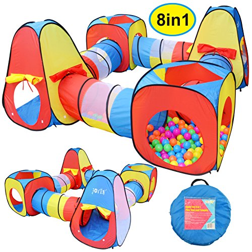 JOYIN 8 in 1 Pop-up Play Tent Tunnel Including 4 Kids Play Tunnels, 2 Cubic Tents and 2 Triangle...