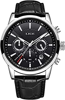 LIGE Mens Watch Fashion Sports Chronograph Waterproof Analog Quartz Brown Leather Strap Casual Wrist Watch