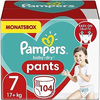 Pampers Windeln Pants Größe 7 (17+kg) Baby Dry, 104 Höschenwindeln, MONATSBOX, Einfaches An- und Ausziehen, Zuverlässige T...