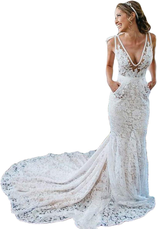 WZW Sexy Bohemian Mermaid Wedding Dresses 2019 V Neck Lace Beach Garden Bridal Gowns