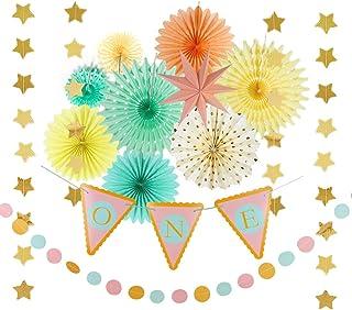 Easy Joy 1歳誕生日飾り付けセット ハイチェア飾り インテリア 写真背景 子供の部屋の装飾 ウオールステッカー バースデー デコレーション