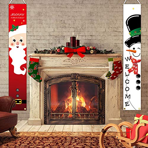 Greenke Christmas Welcome Porch Sign, Santa Clause and Snowman Hanging Standing Vertical Banners Christmas Party Decoration for Holiday Home Indoor Outdoor Porch Wall Door Display (12 x 70 Inch)