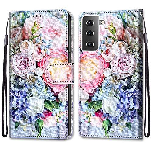 i-Case Funda Adecuado para Samsung S21+ 5G Color Dibujo Carcasa de Tipo Libro con Ranuras para Tarjetas de Soporte Horizontal y Solapa con Cierre Magnético Funda para Samsung Galaxy S21+ 5G Ra