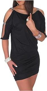 Womens Open Sleeve Stretchy Jersey Tunic Mini Dress 157